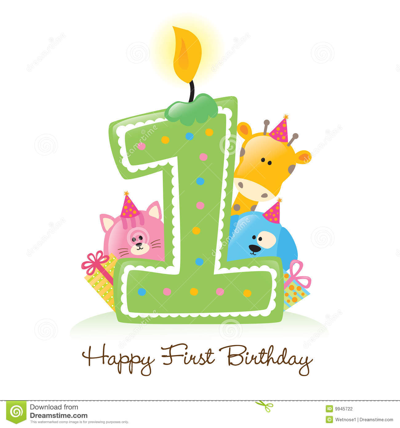 Happy First Birthday Candle