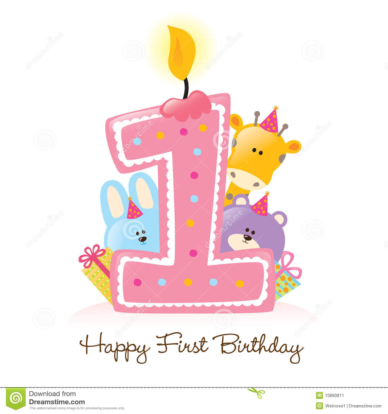 Happy First Birthday Candle And Animals Isolated Stock Image - Image ...