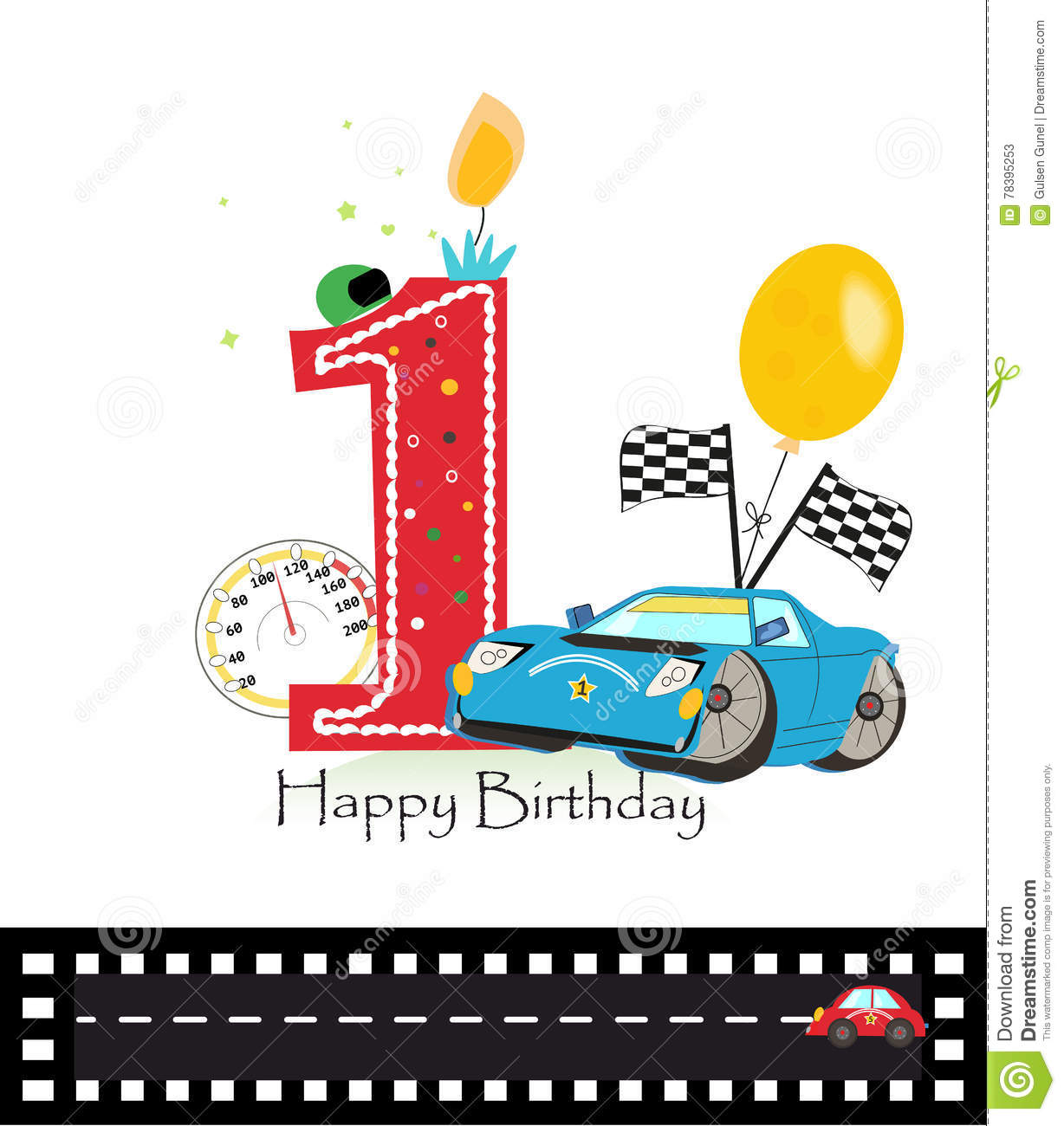 Happy First Birthday Candle Baby Boy Greeting Card With Race Car