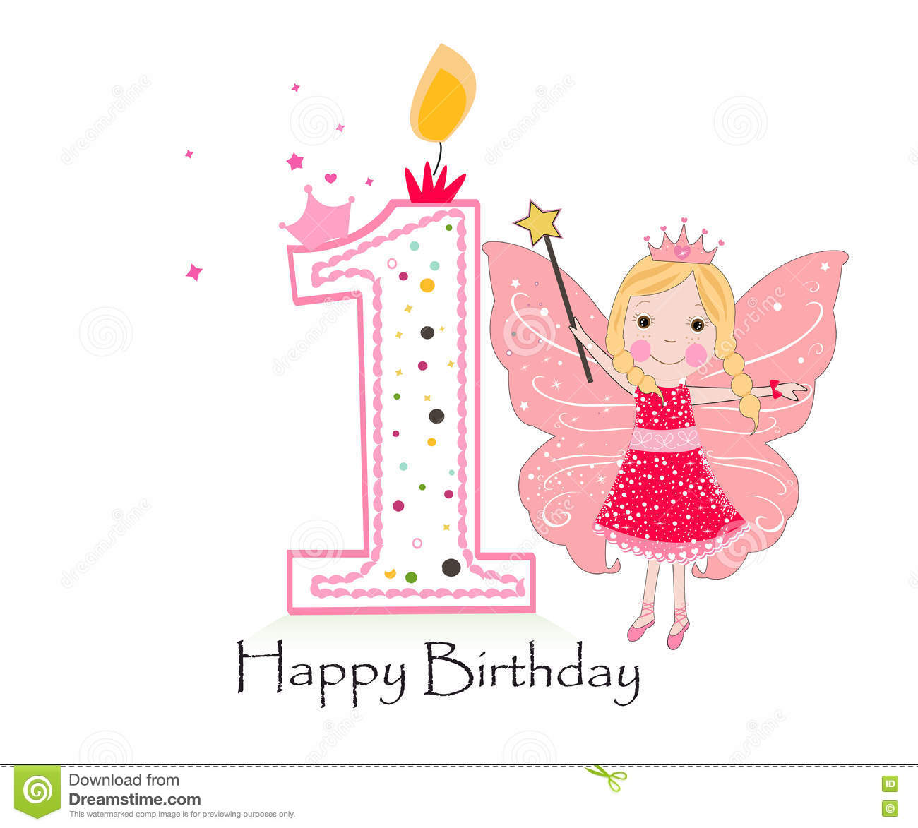 Happy first birthday candle baby girl greeting card with fairy tale baby girl greeting card with fairy tale kristyandbryce Images