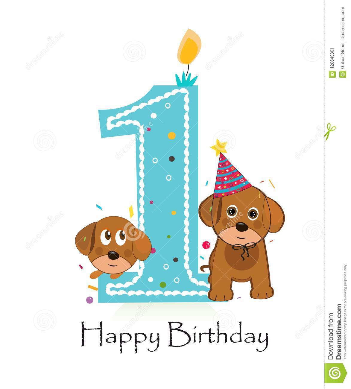 Happy First Birthday With Cute Dogs Baby Boy Greeting Card