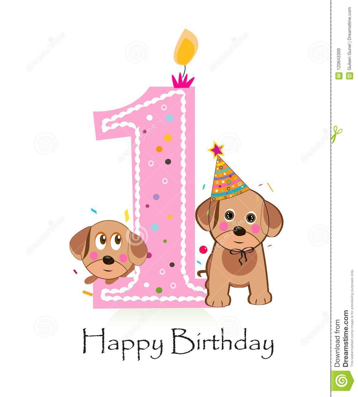 Happy First Birthday With Cute Dogs Baby Girl Greeting Card