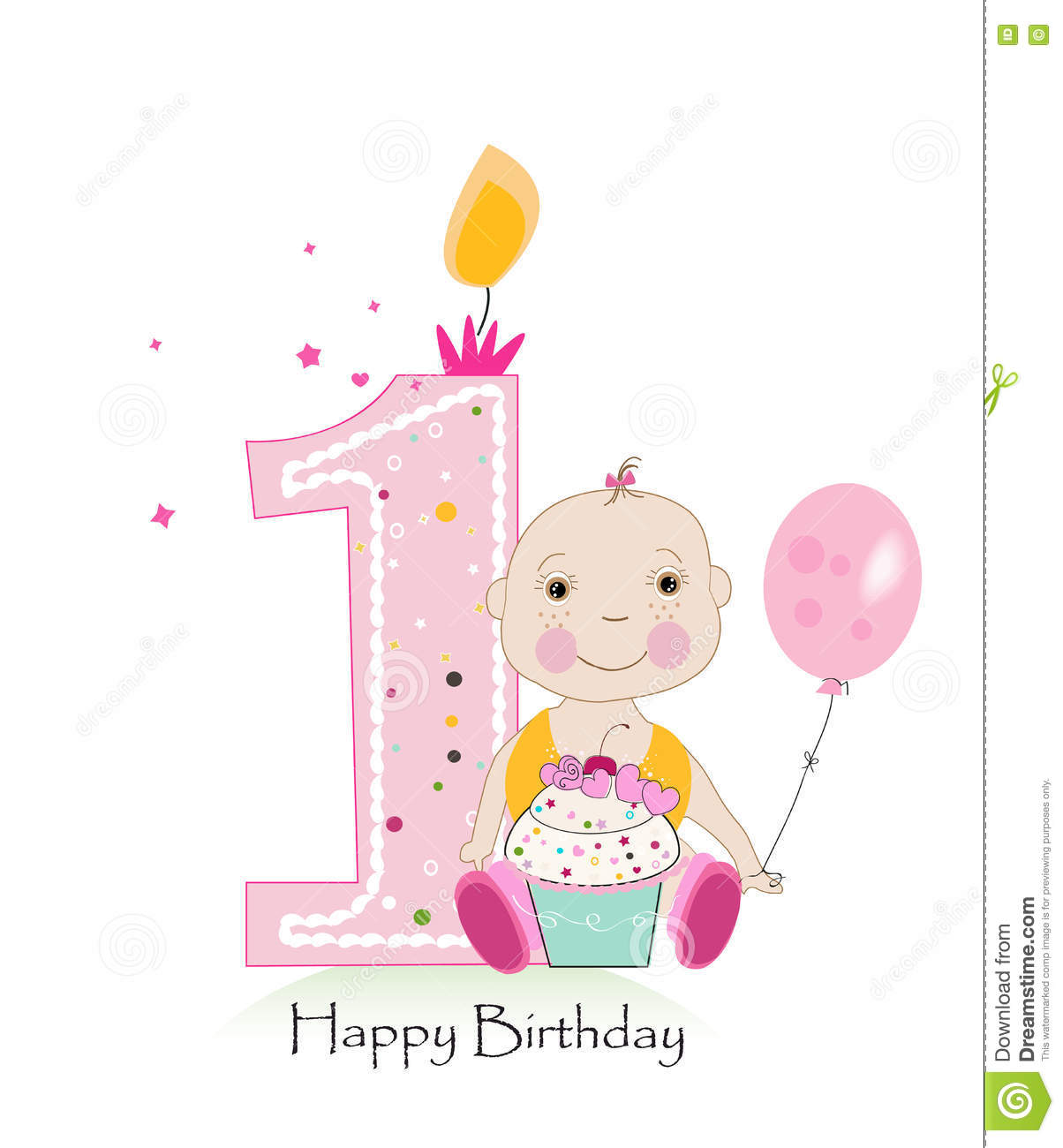 Happy first birthday greeting card one candle with baby girl vector happy first birthday greeting card one candle with baby girl vector illustration m4hsunfo