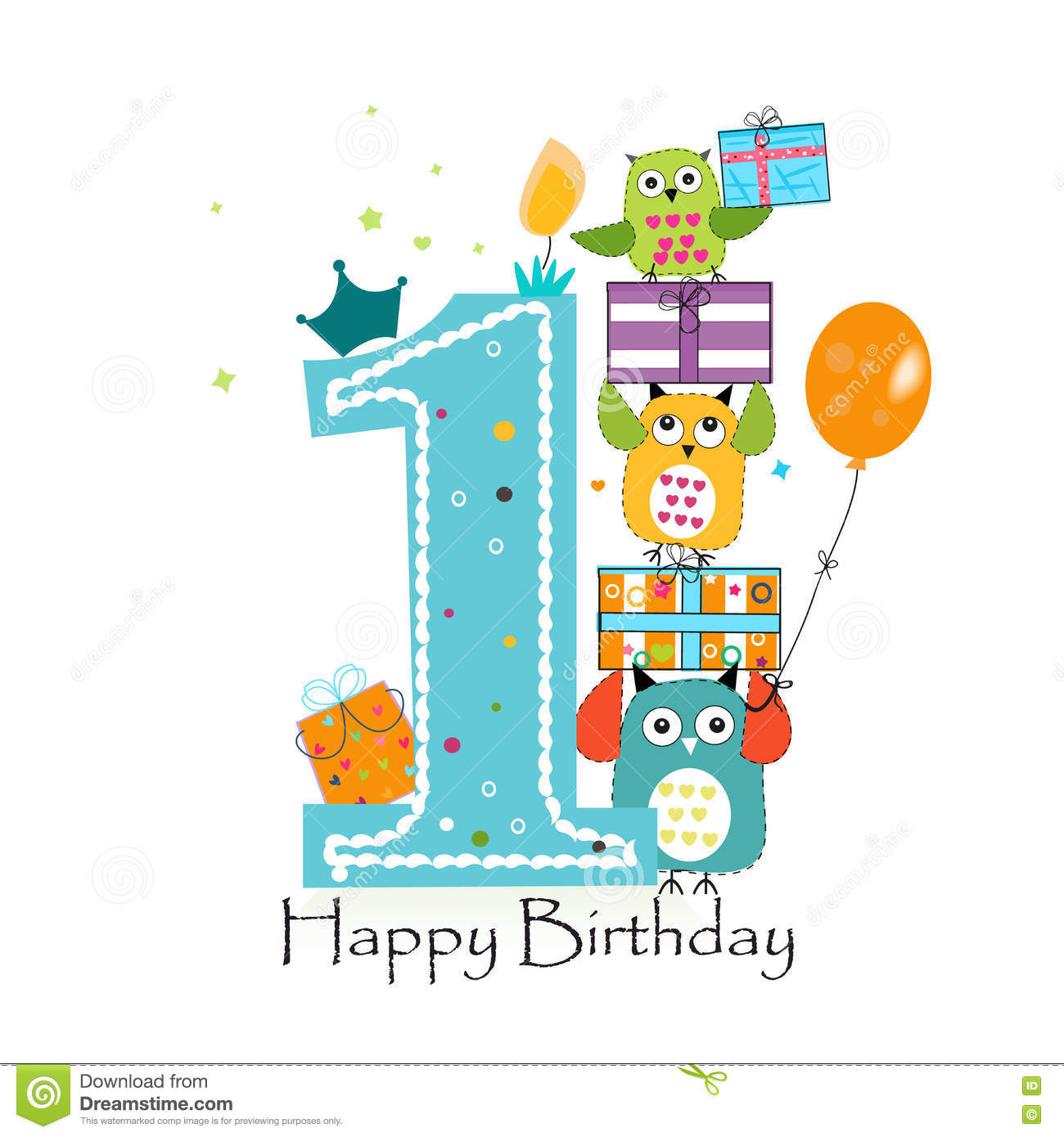 Happy First Birthday With Owls And Gift Box Baby Boy Greeting Card Vector