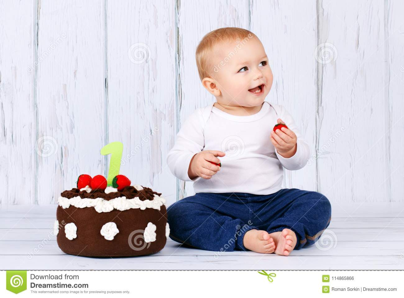 Brilliant Happy First Birthday Studio Portrait Of Cute Toddler And A Personalised Birthday Cards Veneteletsinfo