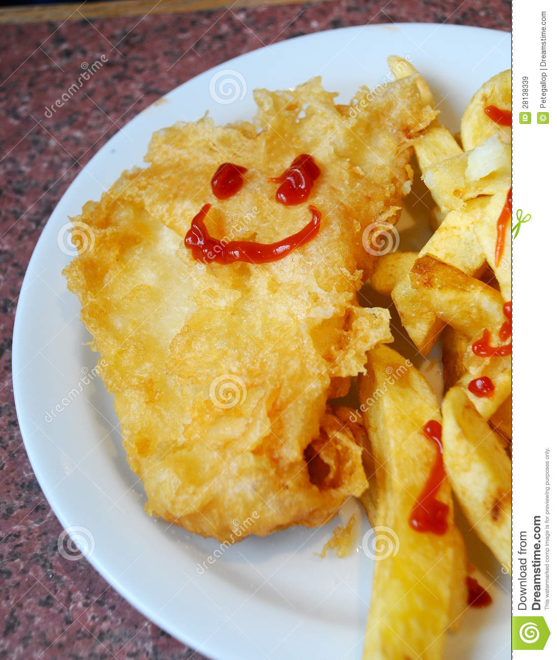 Happy fish stock image image of comical meal tomato for Pete s fish and chips owner murdered