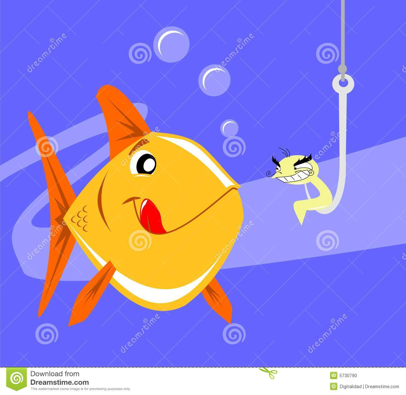 Happy fish being lured by an evil worm stock vector for Happy fish swimming