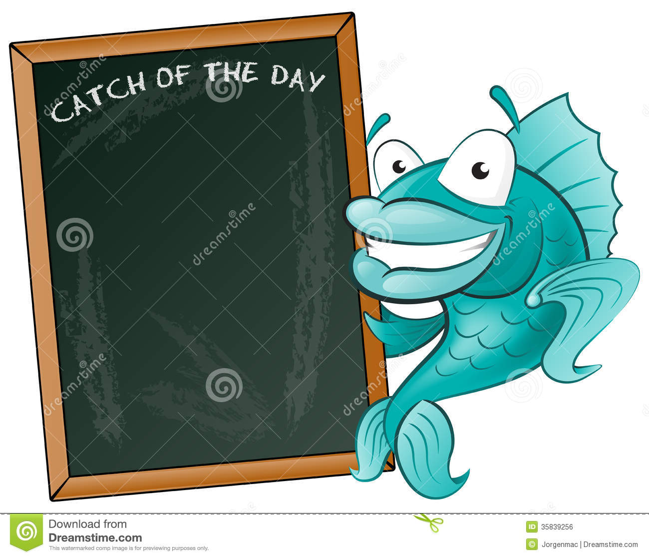 Happy Fish With His Big Blackboard Sign Royalty Free