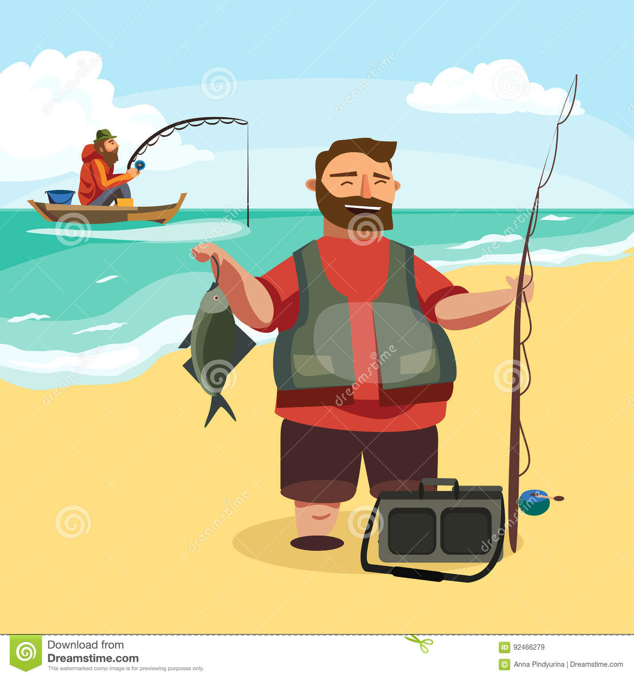 Cartoon Fisherman With Rod And Fish Vector Illustration ...