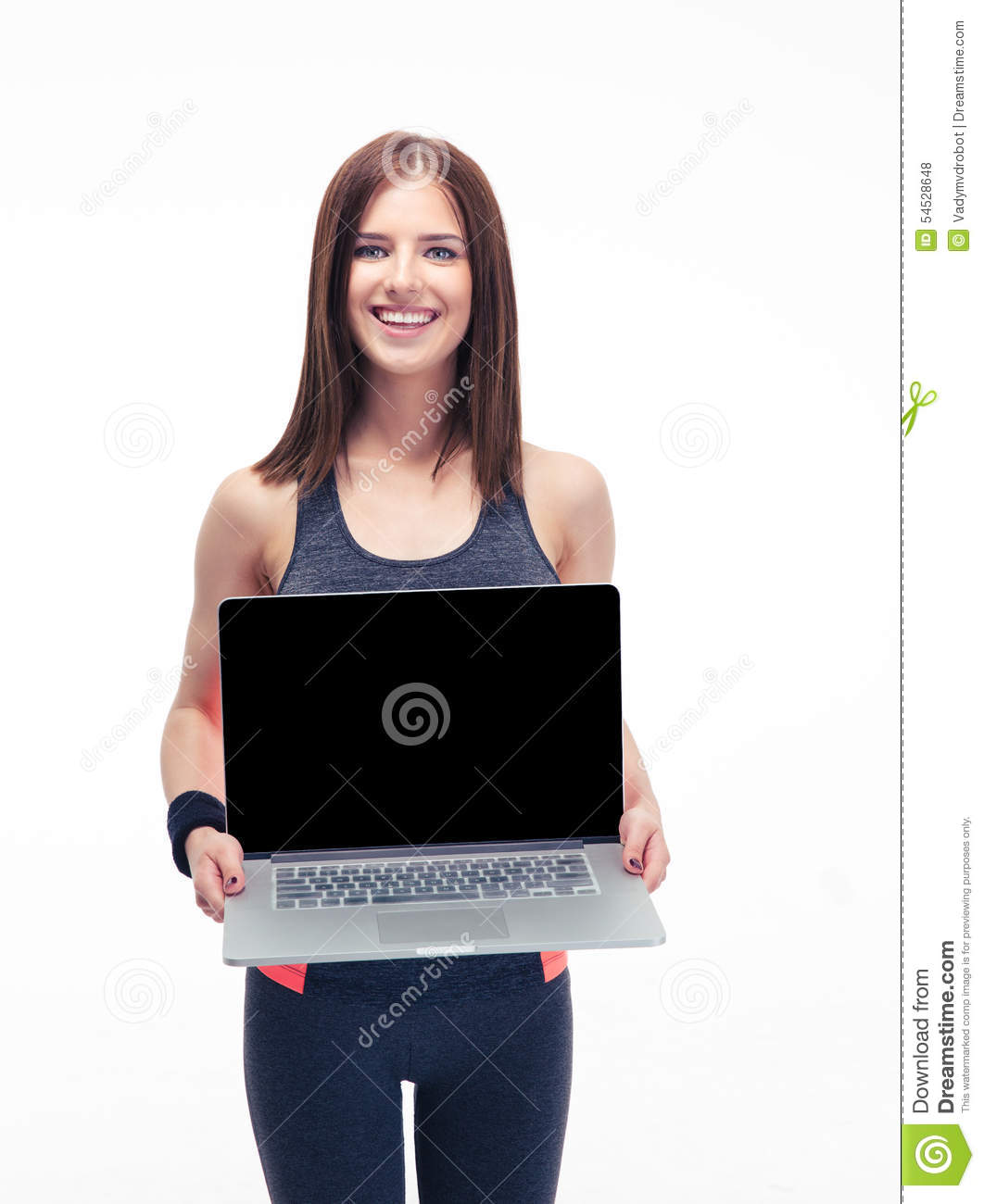 Happy fitness woman showing laptop screen