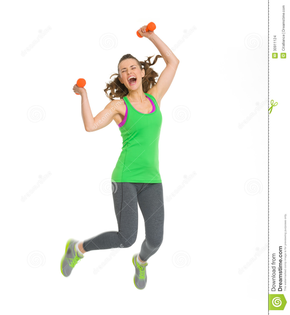 happy-fitness-young-woman-dumbbells-jump