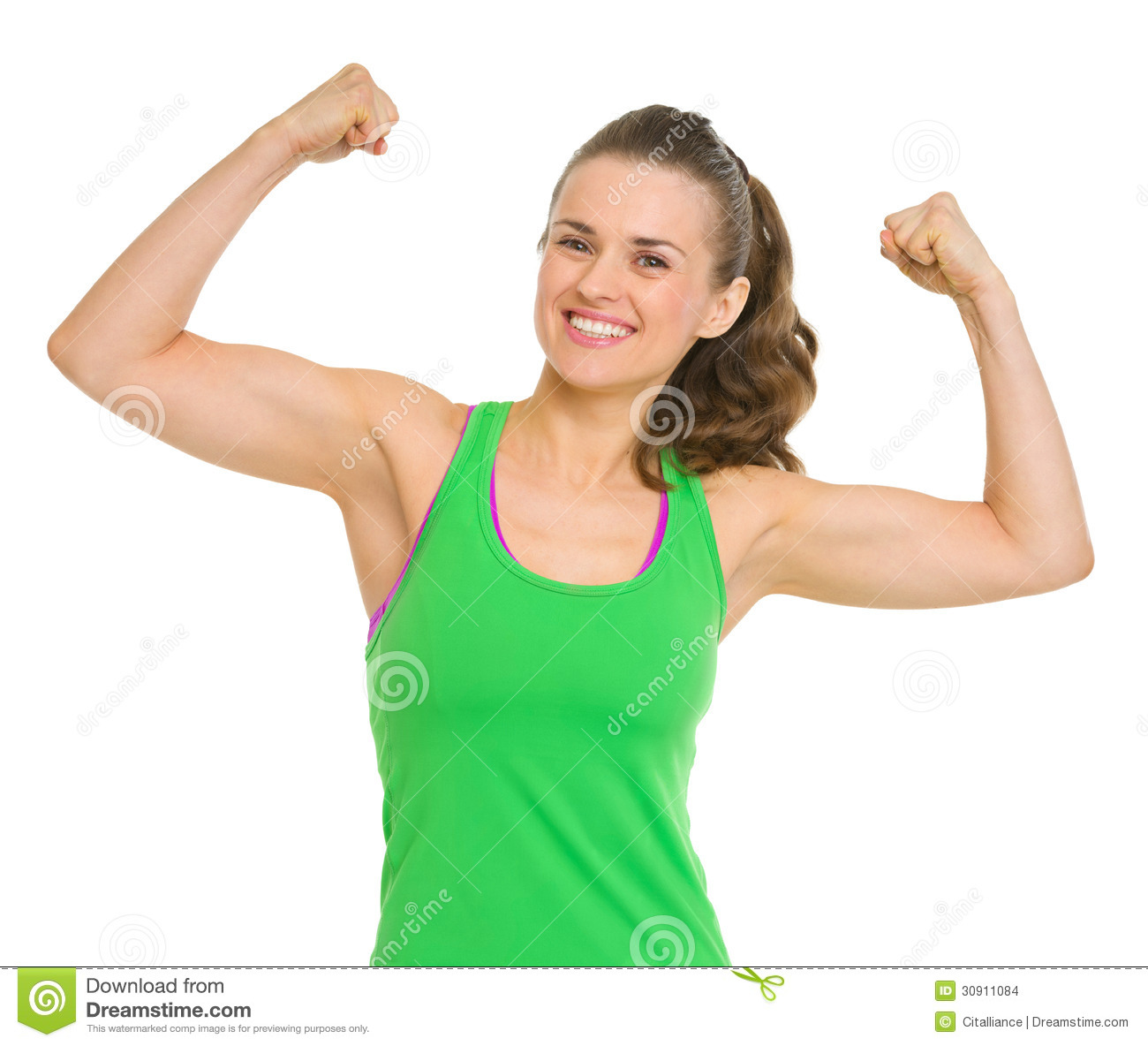happy-fitness-young-woman-showing-biceps