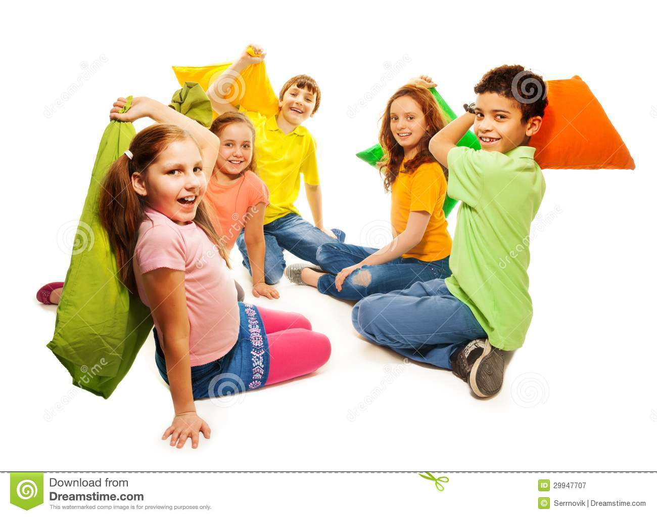 Five Kids In Pillow Fight Royalty Free Stock Photography ...