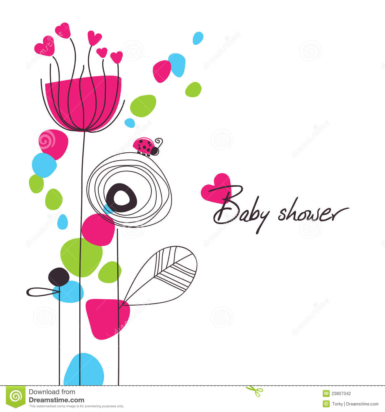 happy floral baby shower stock photography image 23807342