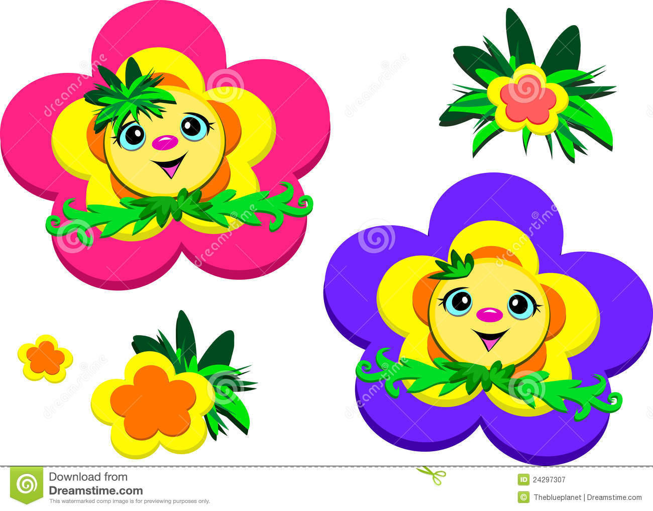 Happy Flower Faces Stock Vector Image Of Leaf Cartoon