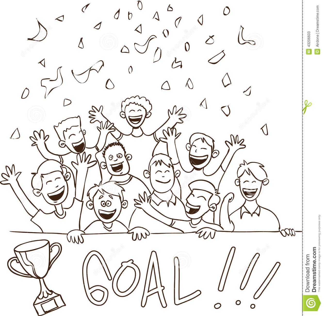 Happy Football Supporters Doodle