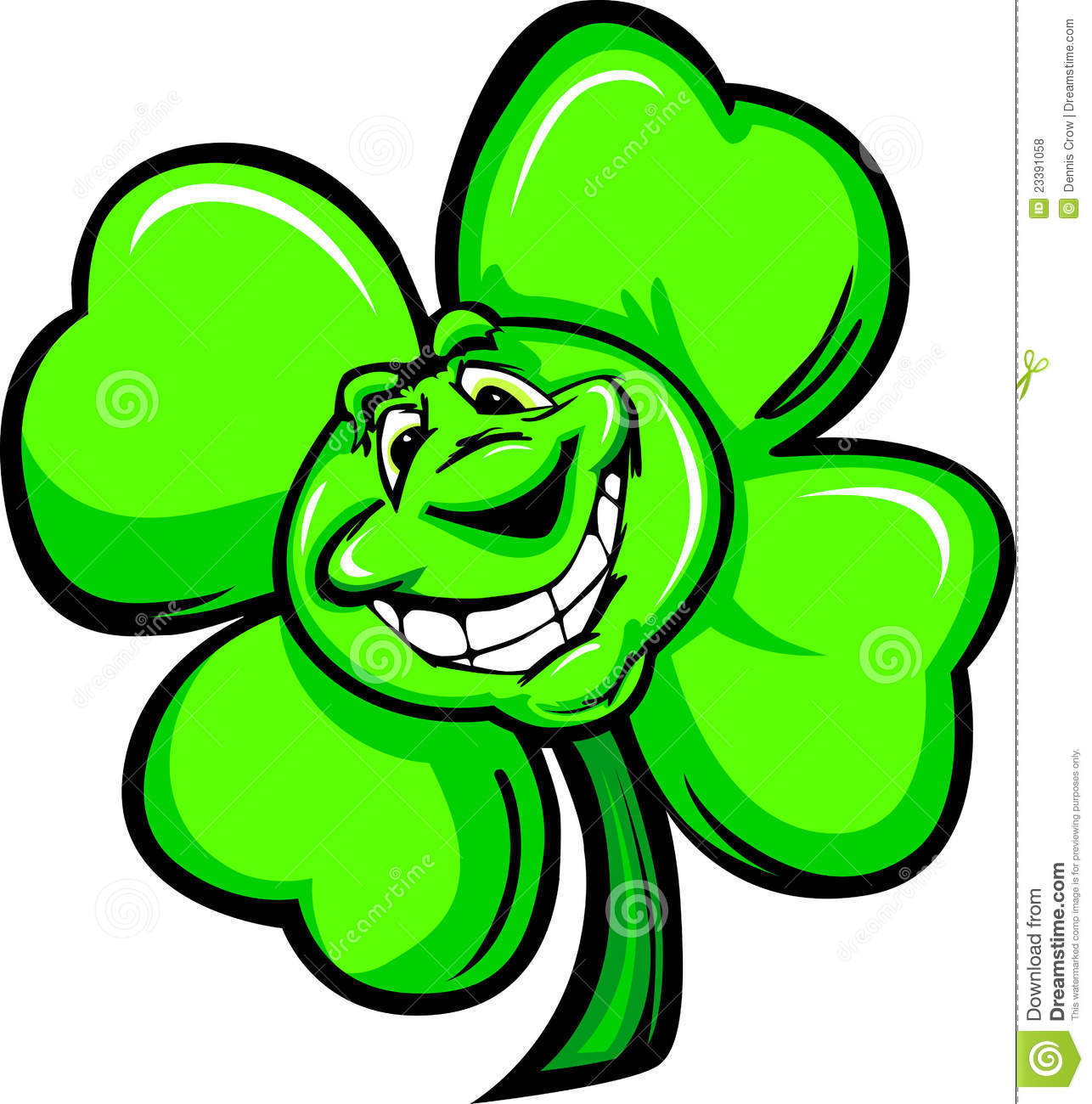 happy four leaf clover cartoon with a big smile royalty free stock