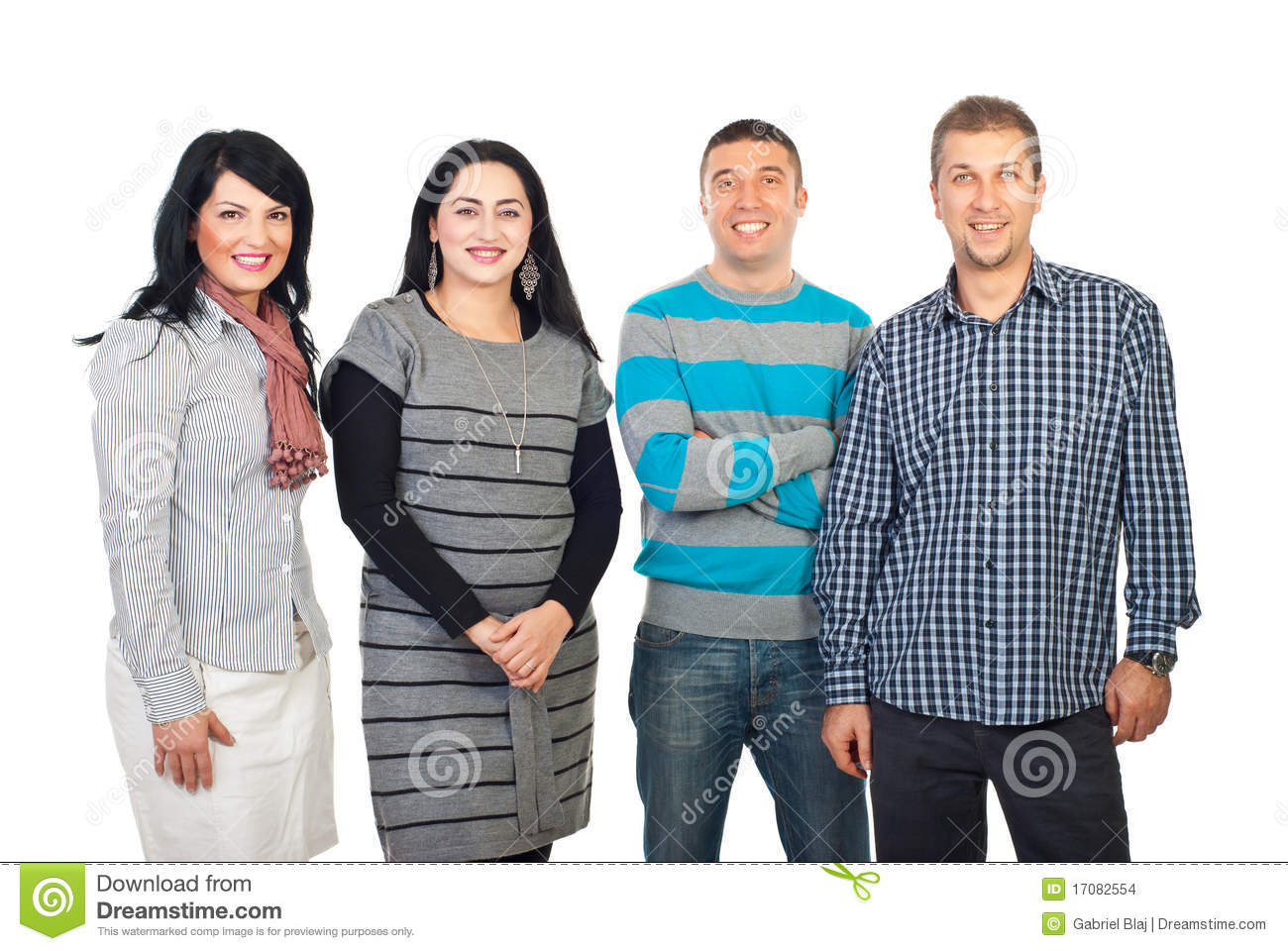 four row happy standing preview dreamstime