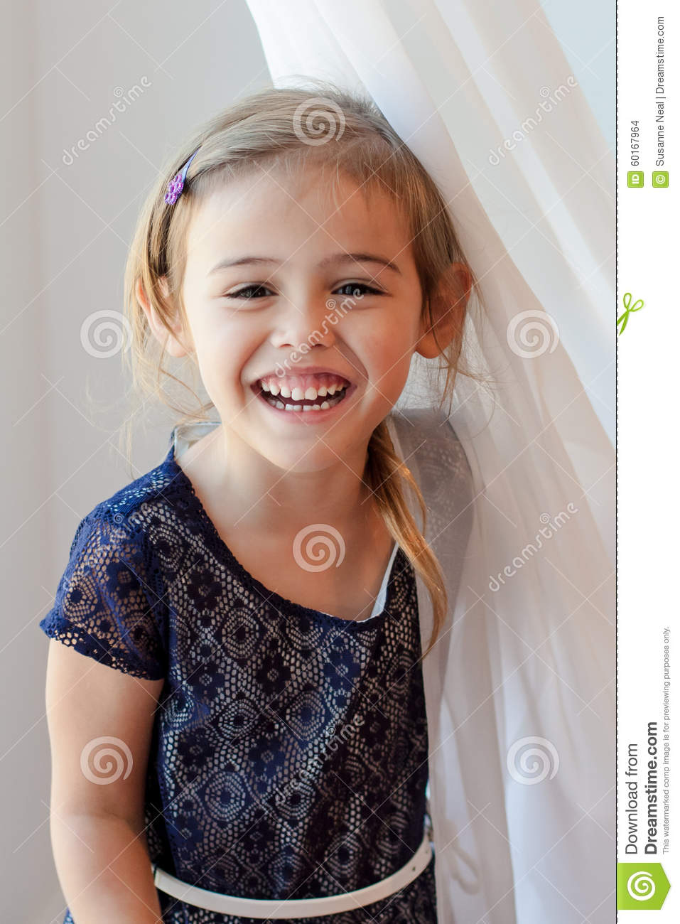 Adorable Four Year Boy With Big Blue Eyes Stock Image: Happy Four Year Old Girl By Sheer White Curtain Stock