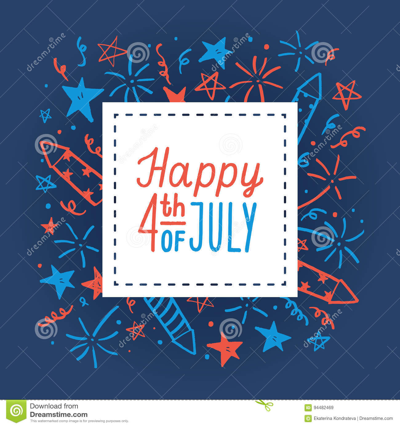 happy fourth of july card template stock vector illustration of