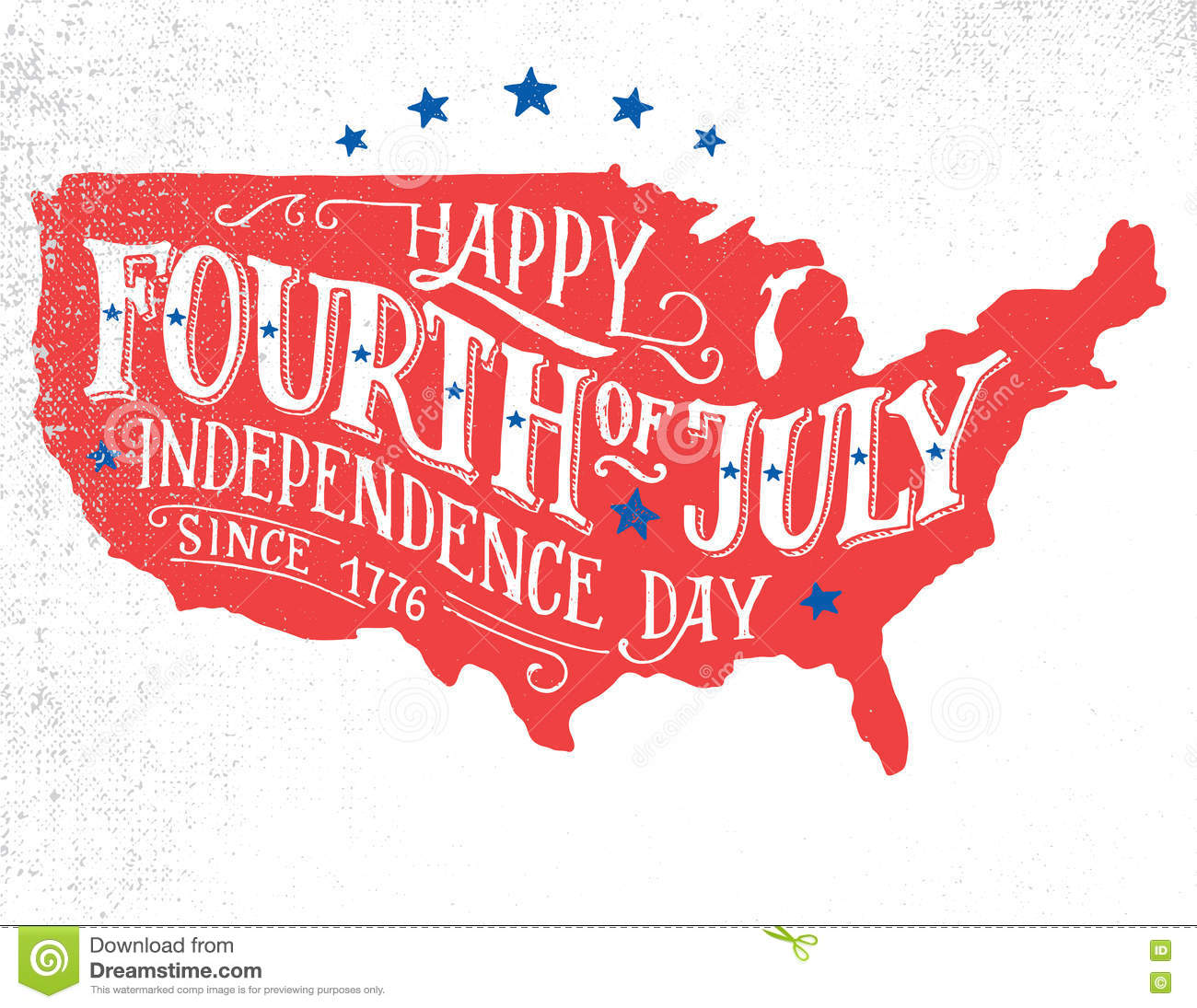 Happy Fourth Of July Hand Lettering Greeting Card