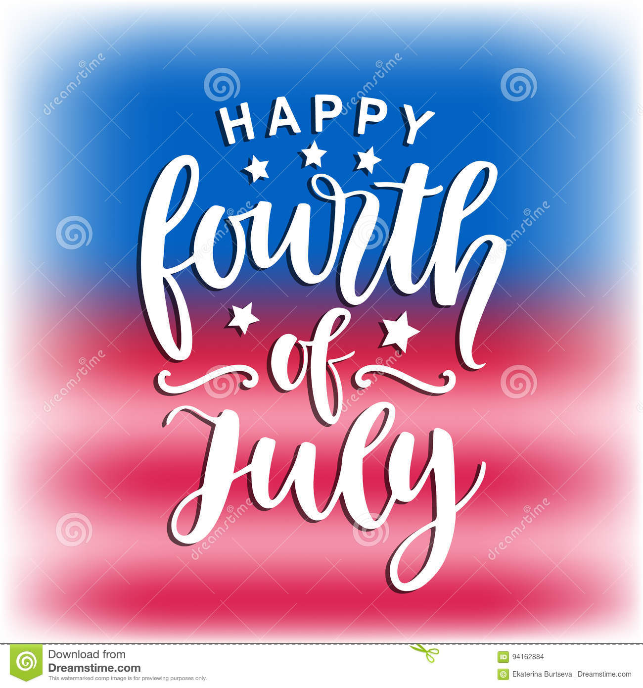 2ec65a7db7d892 Happy Fourth Of July Hand Written Ink Lettering Stock Vector ...