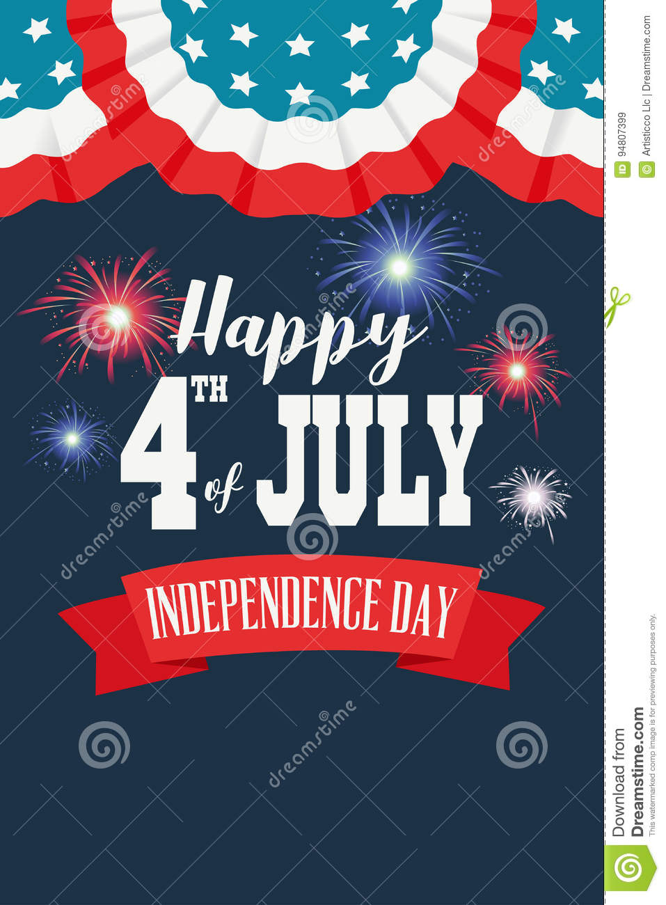 Happy Fourth Of July Poster Illustration Stock Vector Illustration