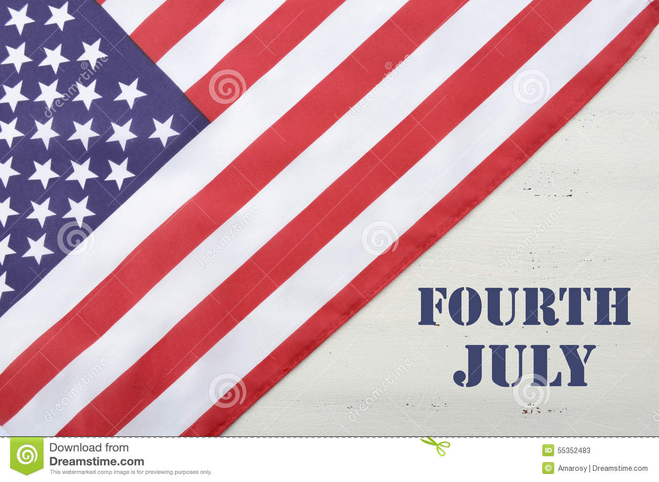 Happy Fourth of July USA Flag on White Wood Table