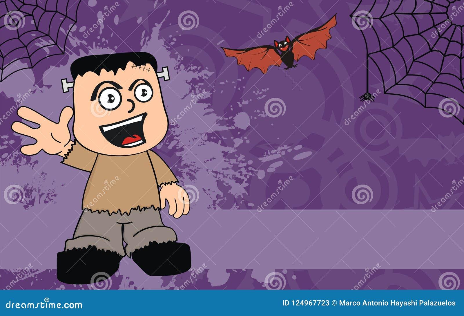 Happy Frankenstein Cartoon Halloween Background Stock Vector