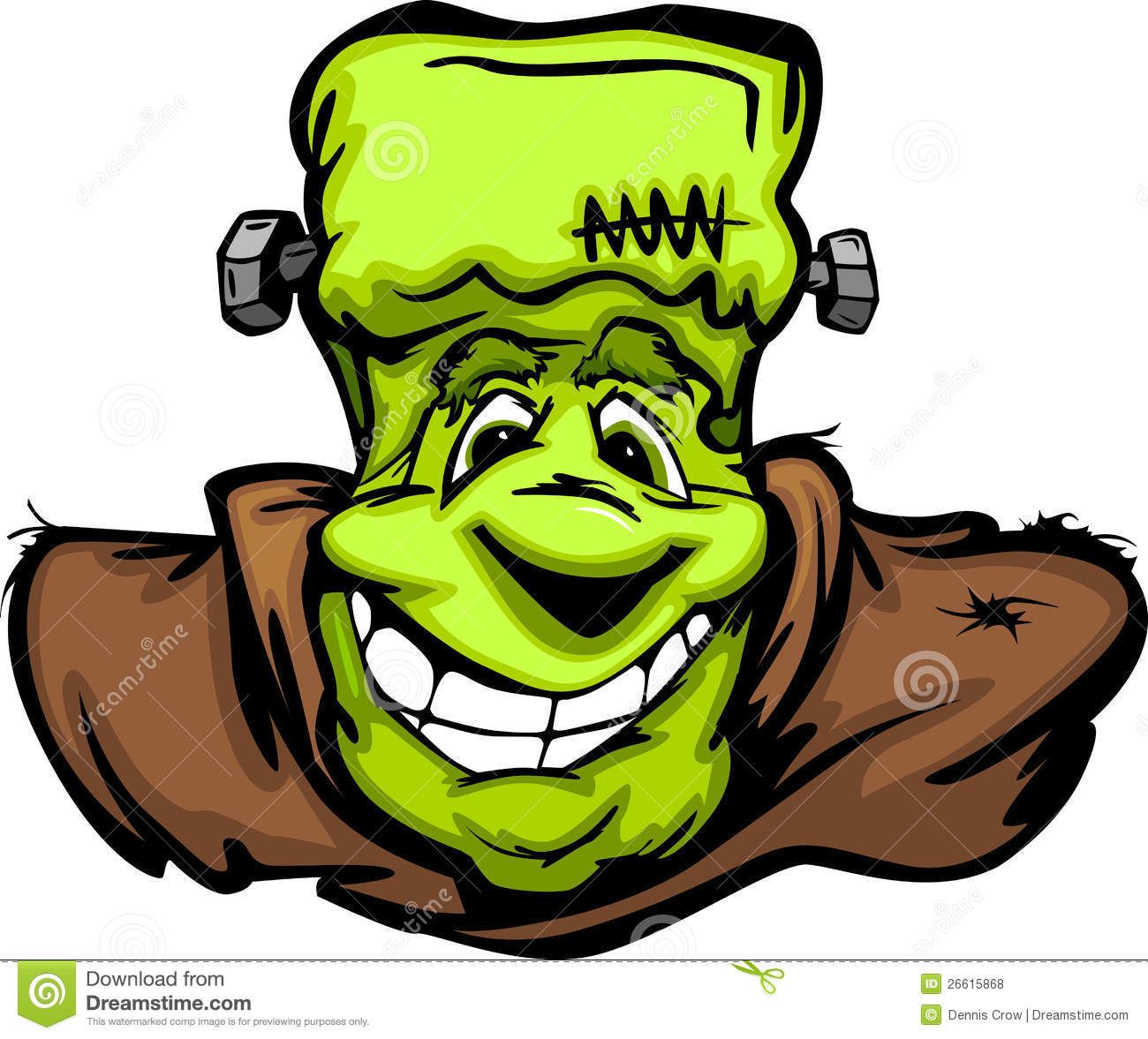 happy frankenstein halloween monster head cartoon royalty free stock photos image 26615868. Black Bedroom Furniture Sets. Home Design Ideas