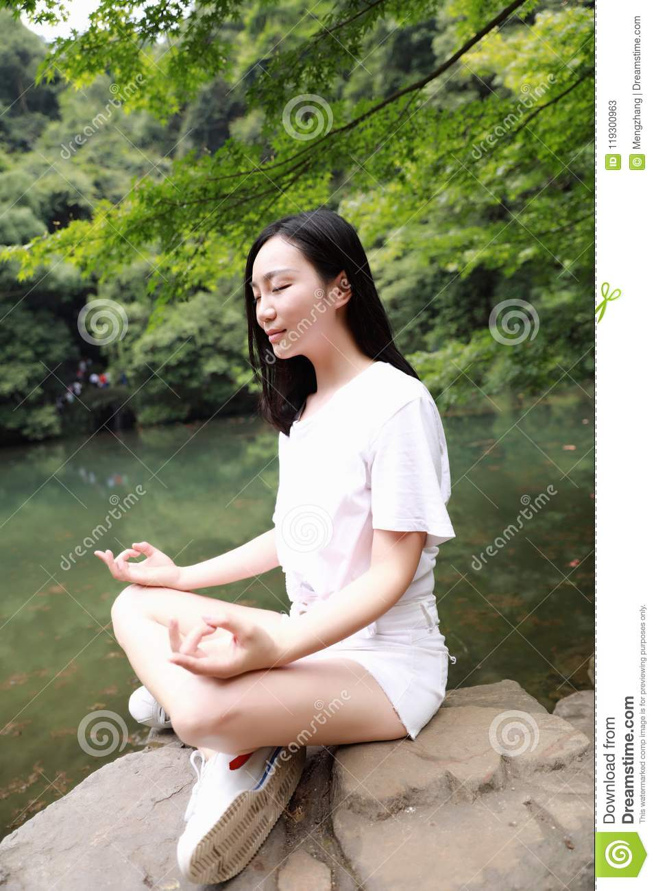 A Happy Free Smile Peace Balance Meditation Beauty Girl Asian