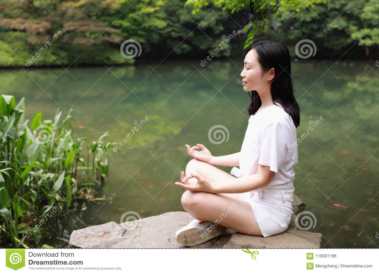 A Happy Free Smile Peace Balance Meditation Beauty Girl Asian