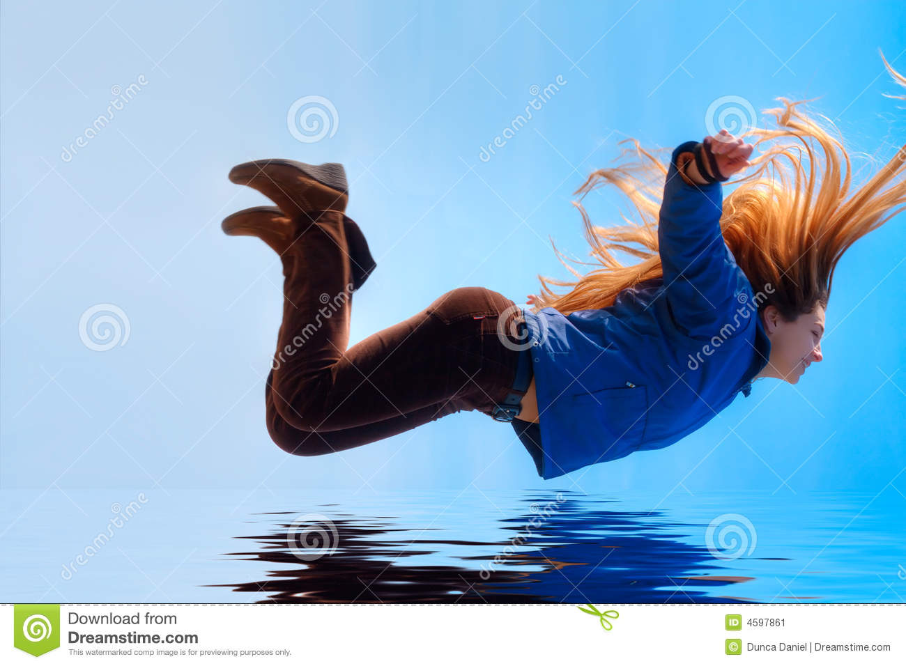 Happy Free Woman Flying Over Water Stock Image - Image ...