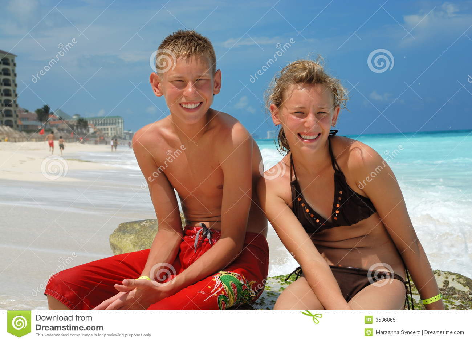 Happy friends at beach