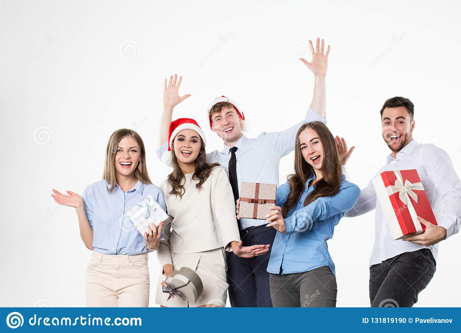 Happy friends celebrate Christmas and New Year
