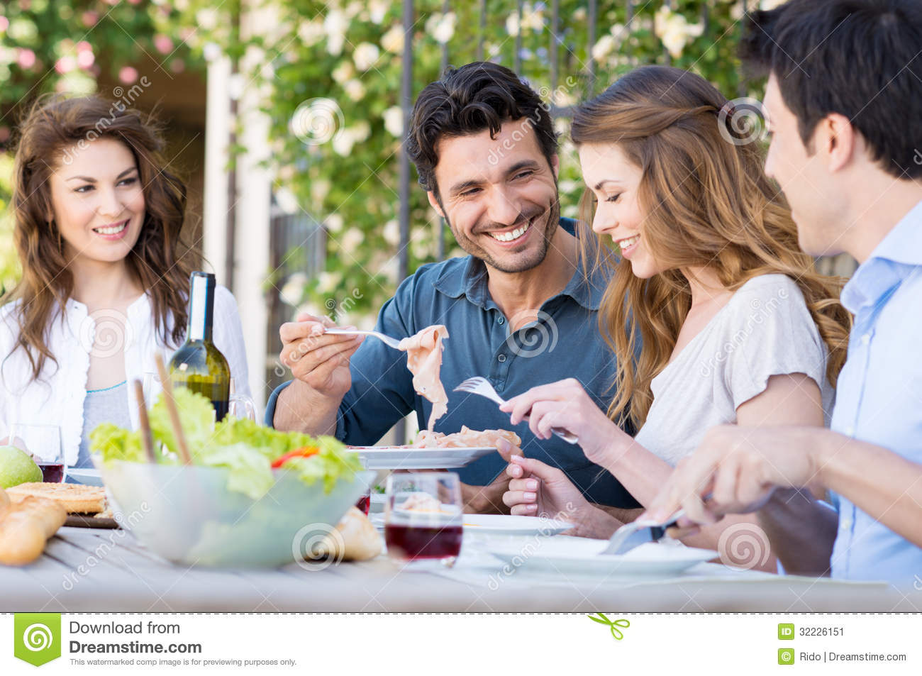 Happy friends having lunch stock image image 32226151 for Group lunch