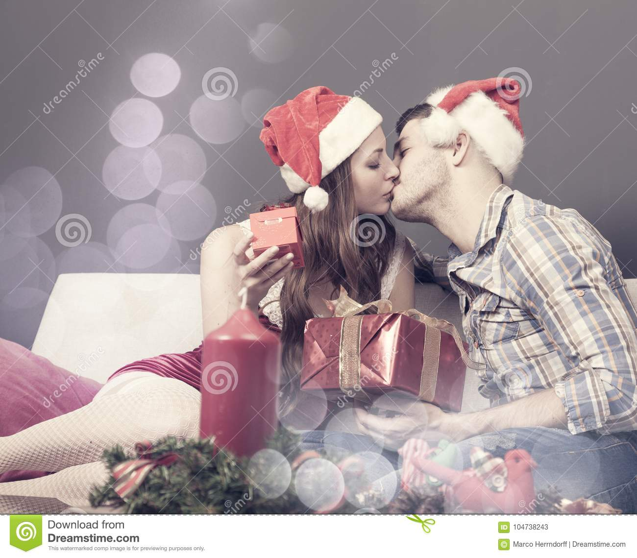 Lovely Couple Enjoys Christmas At Home Stock Image - Image of each ...