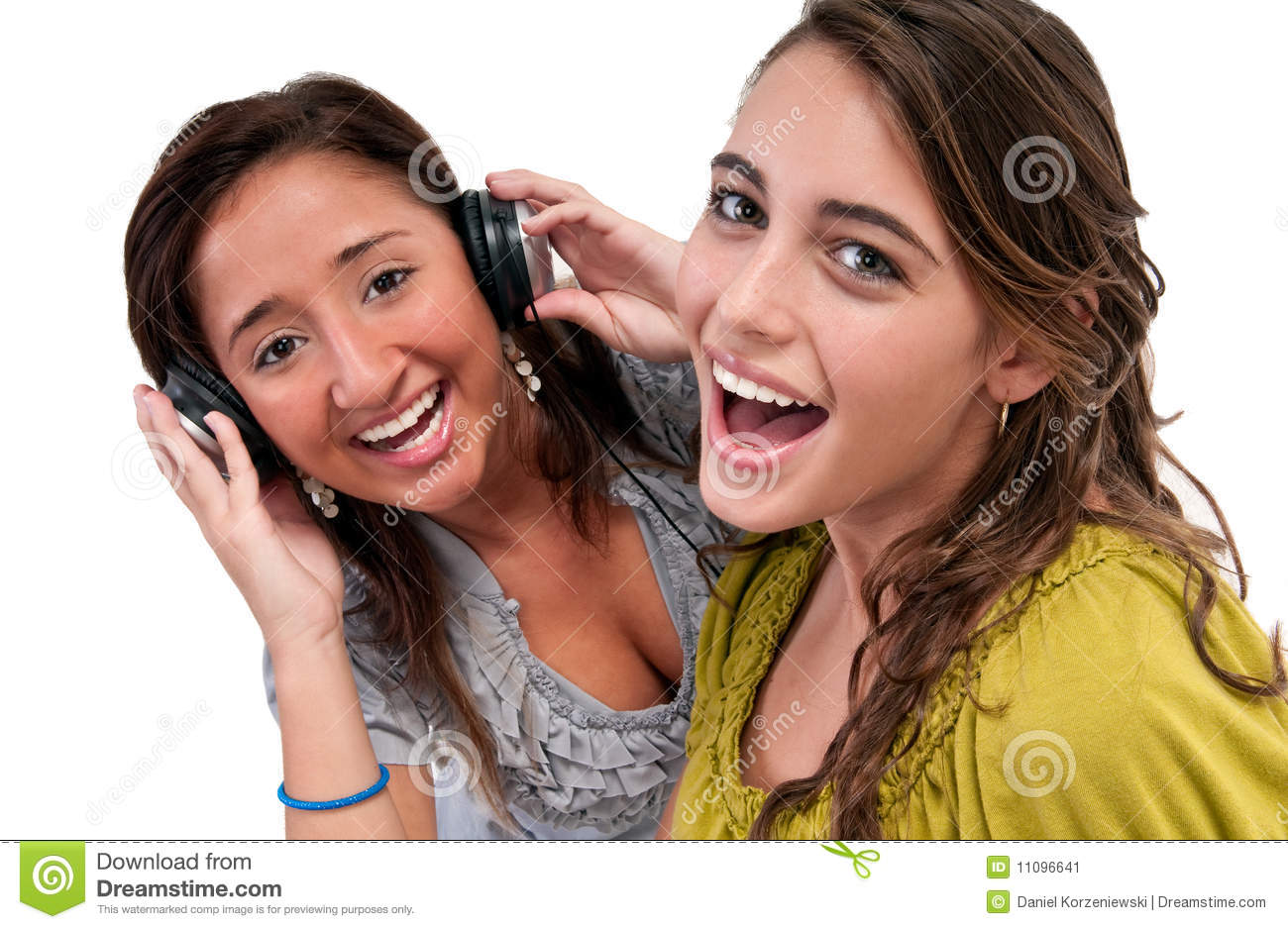 Happy Friends Listen Music Stock Image - Image: 11096641