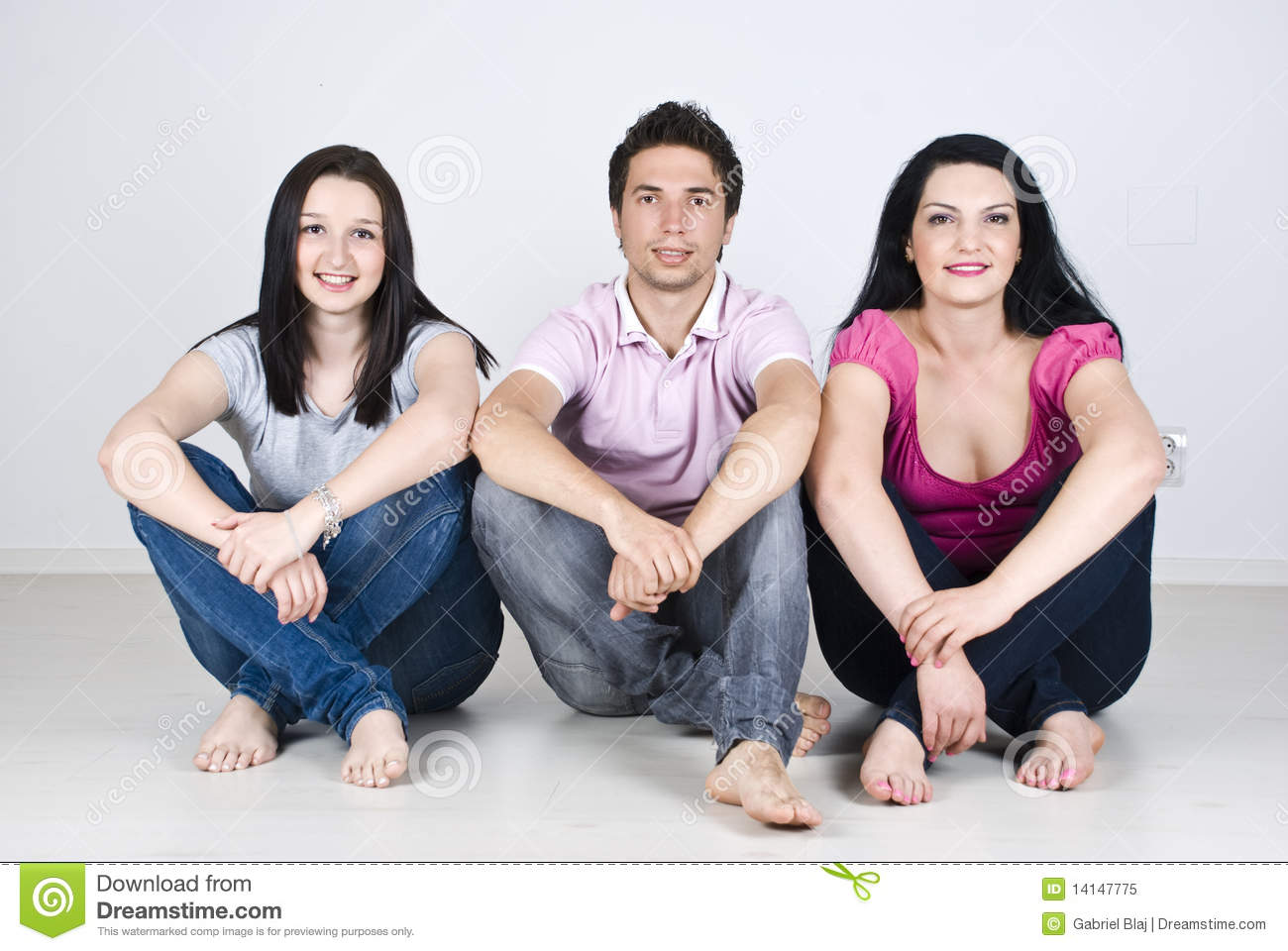 Download Happy Friends Sitting In A Row Home Stock Image - Image of happy, attractive: 14147775