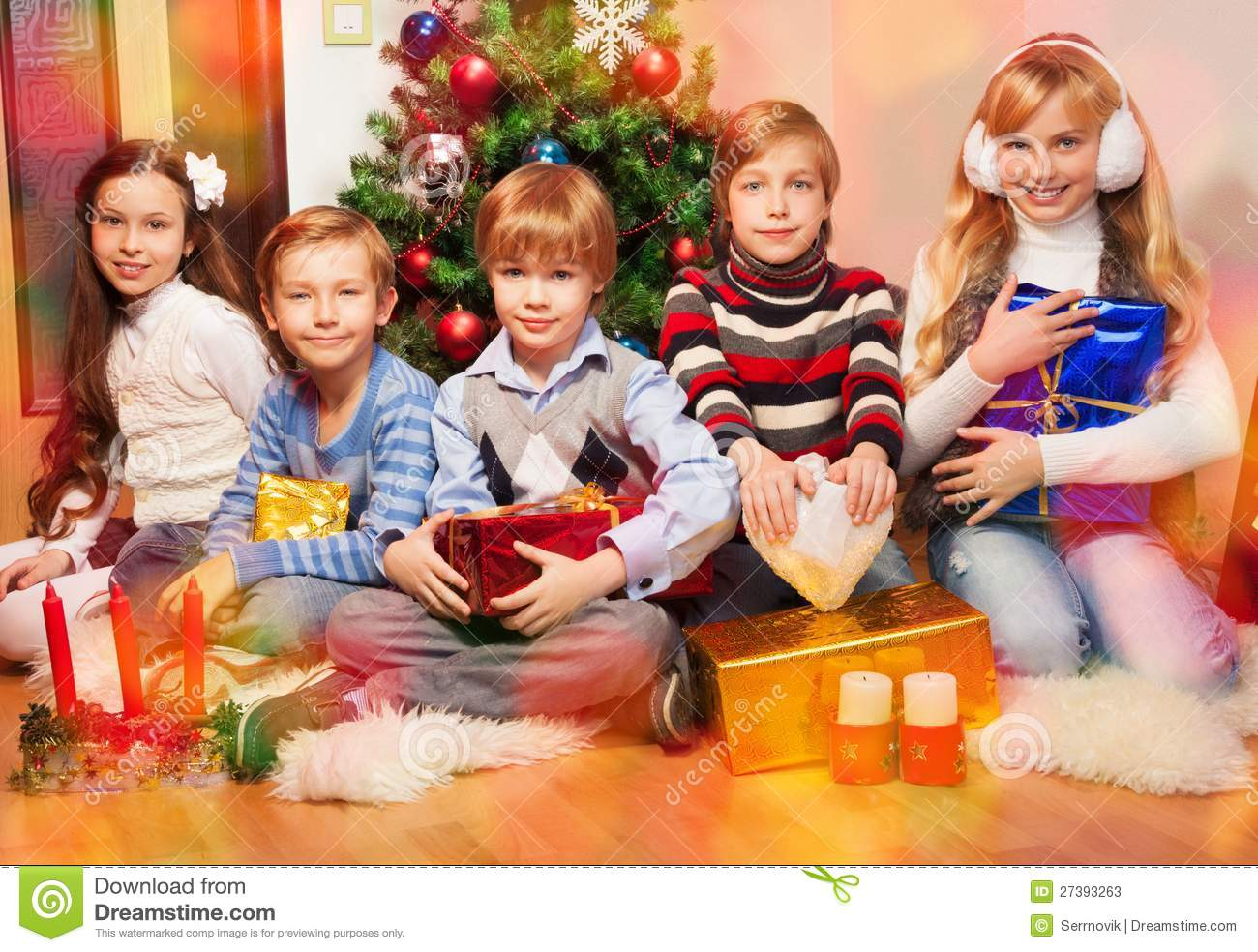 Happy Friends Together At Christmas Eve Stock Photos - Image: 27393263