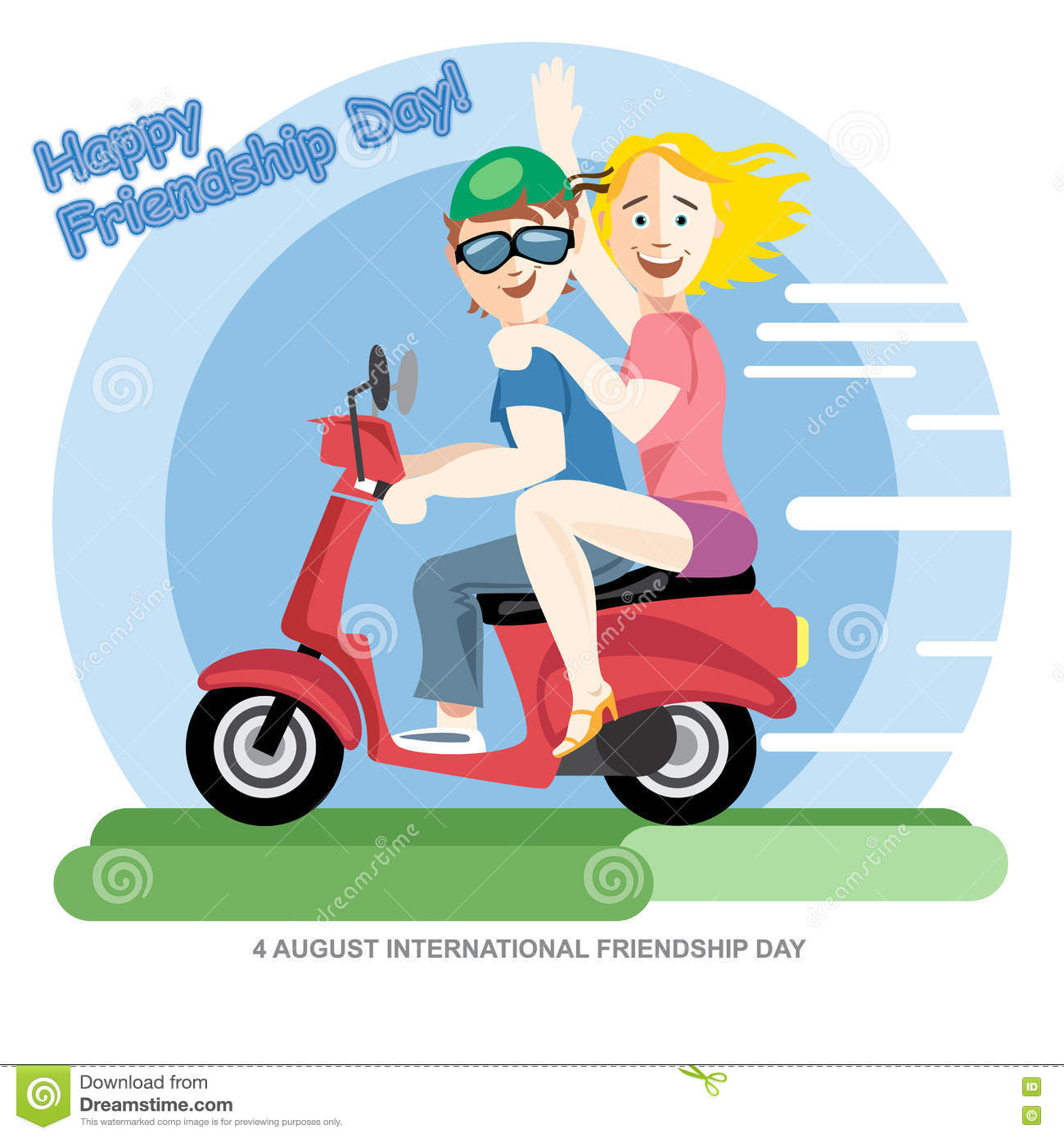 Happy Friendship Day Card 4 August Best Friends Girls Riding A Red Motorcycle Stock Vector Illustration Of Happy Blue 74366655
