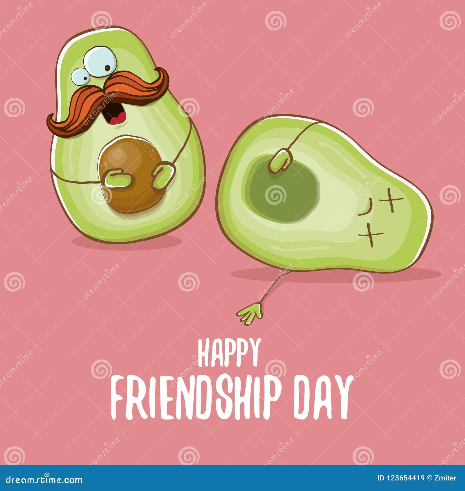 Happy friendship day cartoon comic greeting card with two green download happy friendship day cartoon comic greeting card with two green avocado friends friendship day m4hsunfo