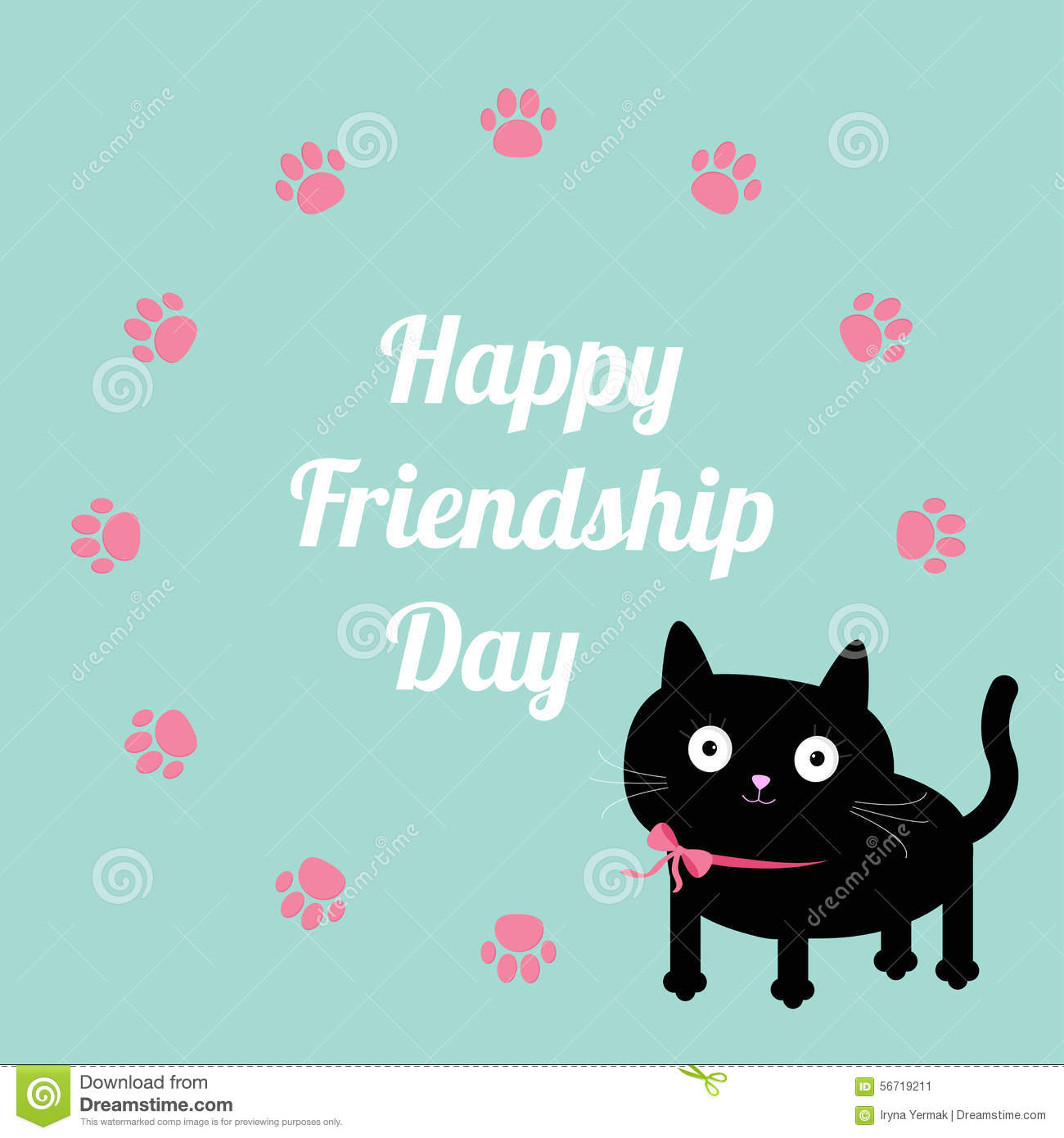 Happy Friendship Day Cat And Paw Print Round Frame Template. Flat ...