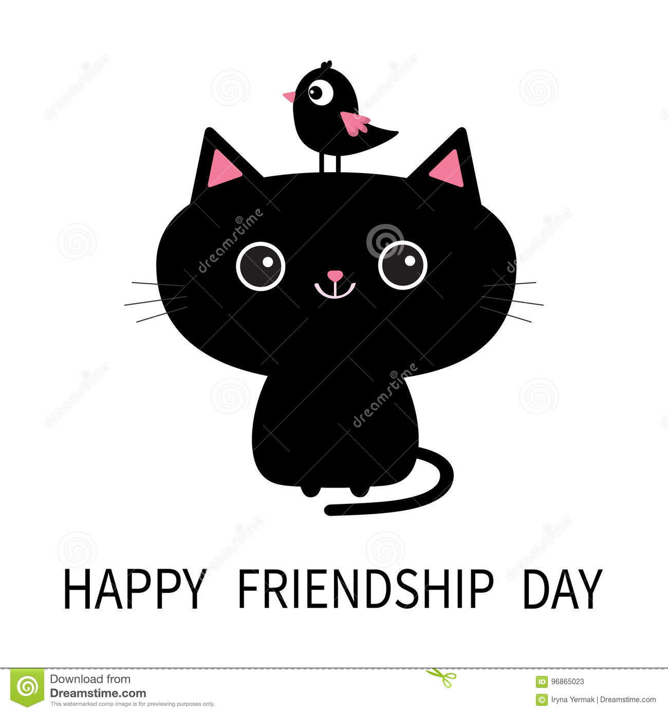 Happy Friendship Day Cute Black Cat Icon Bird Sitting On Head Face