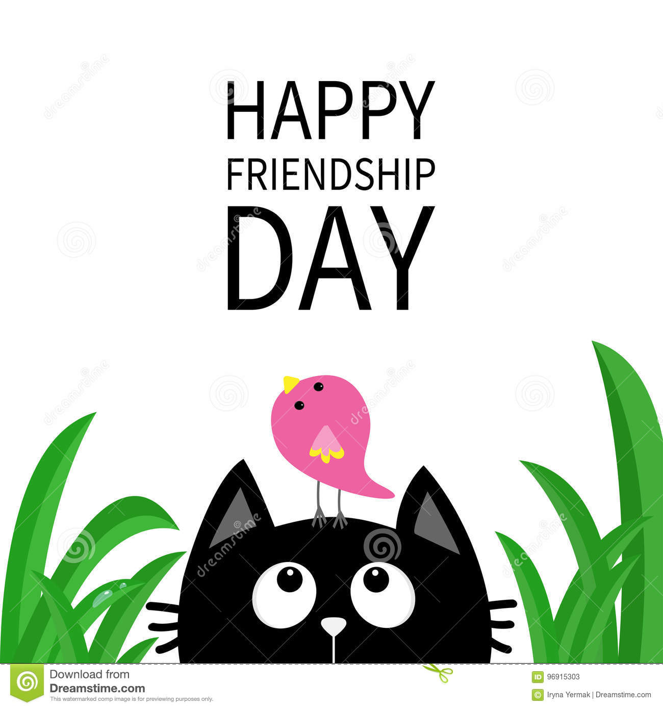 Happy Friendship Day Cute Black Cat Looking Up To Bird On Head