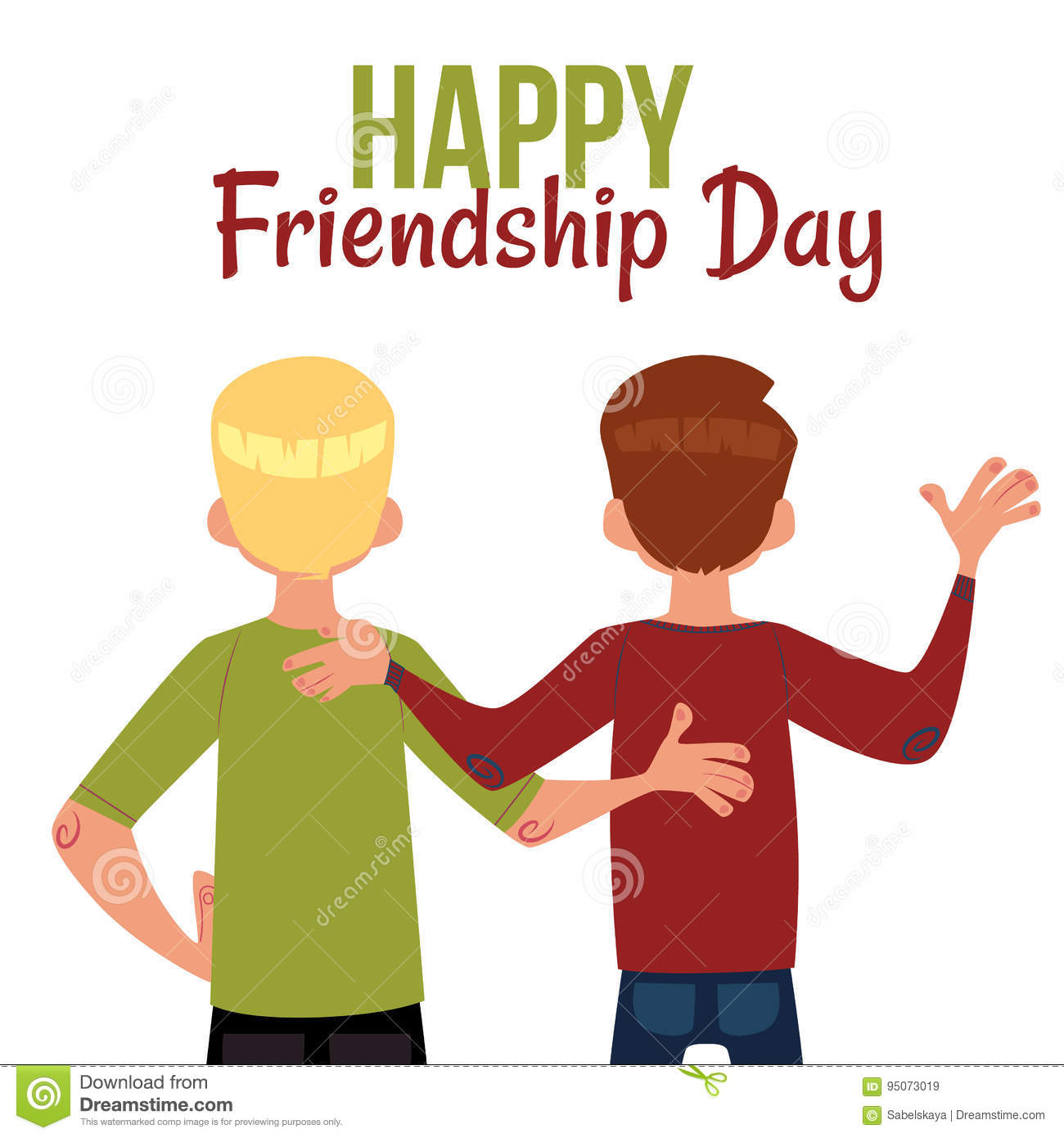 Happy Friendship Day Greeting Card Back View Of Two Friends Stock Vector Illustration Of Length Smile 95073019