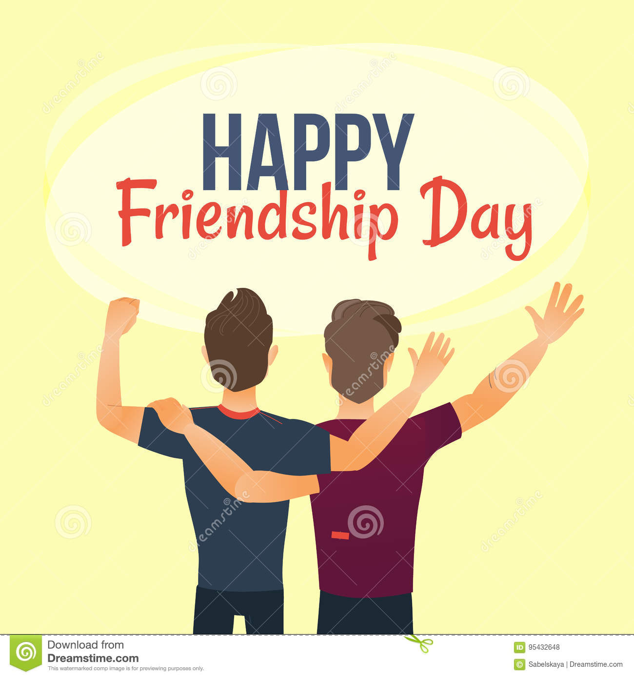 Happy Friendship Day Greeting Card Back View Of Two Friends Stock Vector Illustration Of Person Isolated 95432648