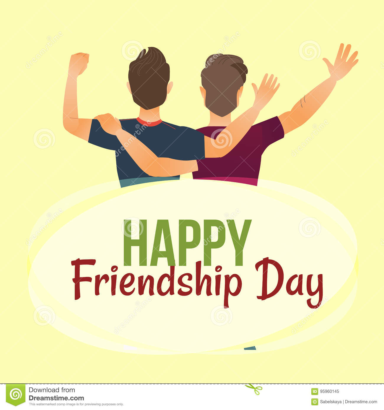 Happy Friendship Day Greeting Card Back View Of Two Friends Stock Vector Illustration Of People Male 95960145