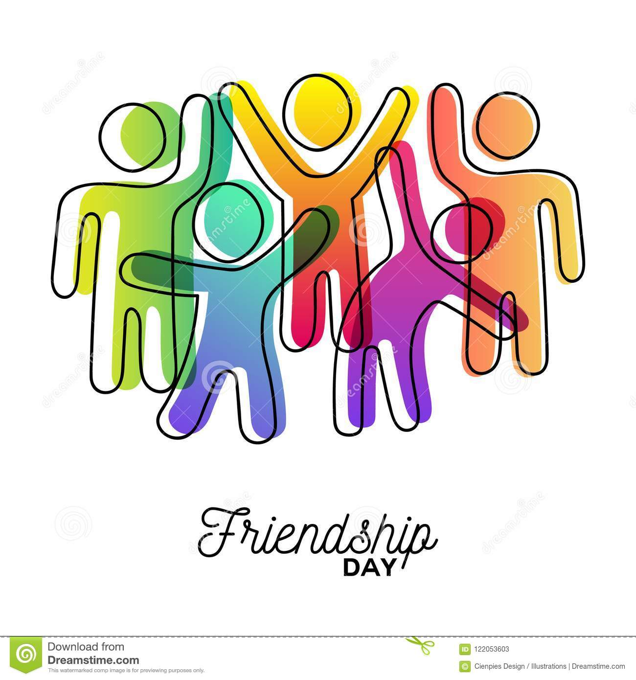 Happy Friendship Day Card Of Friends Dancing Stock Vector