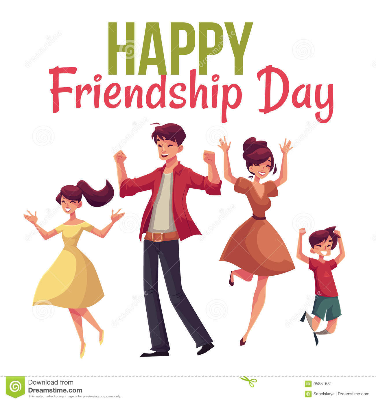 Happy Friendship Day Greeting Card Stock Vector Illustration Of